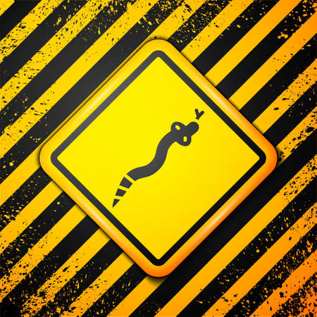 Black Snake icon isolated on yellow background. Warning sign. Vector Иллюстрация