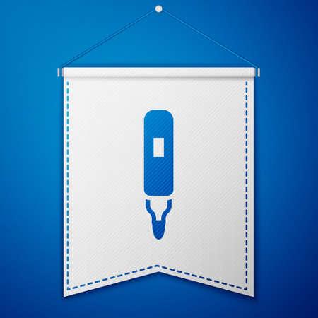 Blue Marker pen icon isolated on blue background. Felt-tip pen. White pennant template. Vector