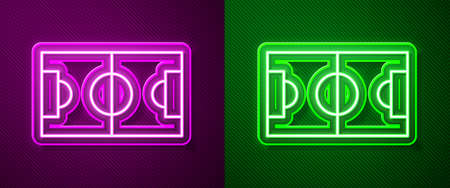 Glowing neon line Football or soccer field icon isolated on purple and green background. Vector Illustration