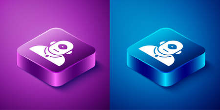 Isometric Cyclops icon isolated on blue and purple background. Square button. Vector