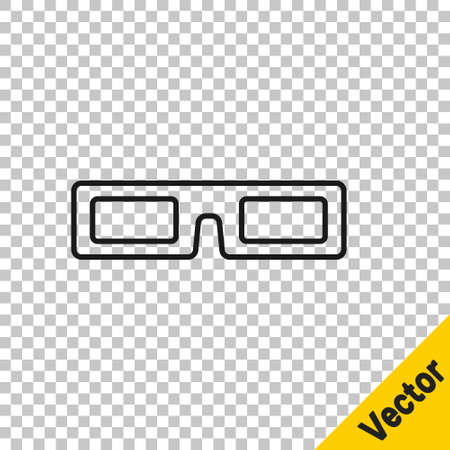 Black line cinema glasses icon isolated on transparent background. Vector Illustration Vecteurs