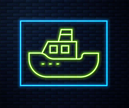 Glowing neon line Toy boat icon isolated on brick wall background. Vector Illustration