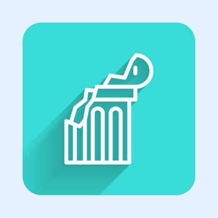 White line Broken ancient column icon isolated with long shadow. Green square button. Vector