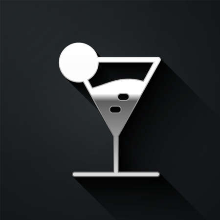 Silver Martini glass icon isolated on black background. Cocktail icon. Wine glass icon. Long shadow style. Vector Illustration