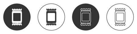 Black Fertilizer bag icon isolated on white background. Circle button. Vector Illustration Vettoriali