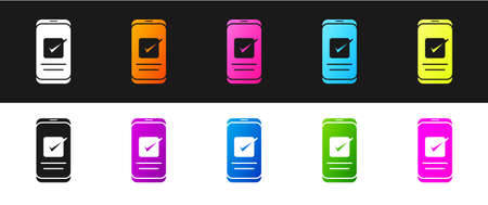 Set Smartphone, mobile phone icon isolated on black and white background. Vector