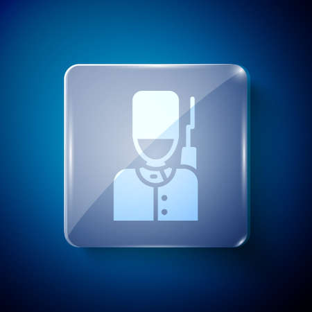 White British guardsman with bearskin hat marching icon isolated on blue background. Square glass panels. Vector Illustration