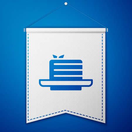 Blue Medovik icon isolated on blue background. Honey layered cake or russian cake Medovik on plate. White pennant template. Vector 일러스트
