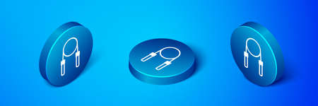 Isometric Jump rope icon isolated on blue background. Skipping rope. Sport equipment. Blue circle button. Vector Vectores