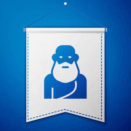 Blue Socrates icon isolated on blue background. Sokrat ancient greek Athenes ancient philosophy. White pennant template. Vector