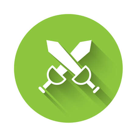 White Crossed medieval sword icon isolated with long shadow. Medieval weapon. Green circle button. Vector