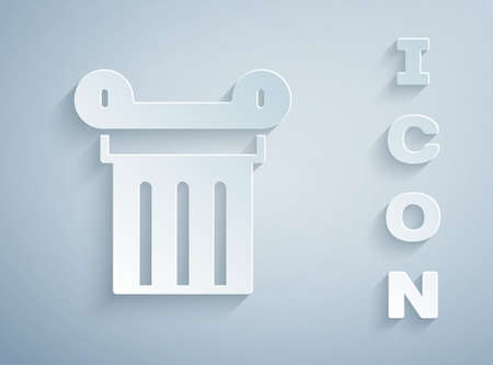 Paper cut Ancient column icon isolated on grey background. Paper art style. Vector