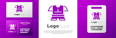 Logotype Body armor icon isolated on white background. Logo design template element. Vector Çizim
