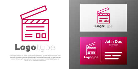 Logotype line Movie clapper icon isolated on white background. Film clapper board. Clapperboard sign. Cinema production or media industry. Logo design template element. Vector Illustration Çizim