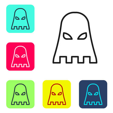 Black line Executioner mask icon isolated on white background. Hangman, torturer, executor, tormentor, butcher, headsman icon. Set icons in color square buttons. Vector