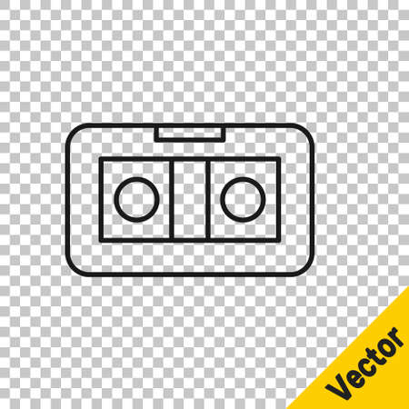 Black line VHS video cassette tape icon isolated on transparent background. Vector Illustration