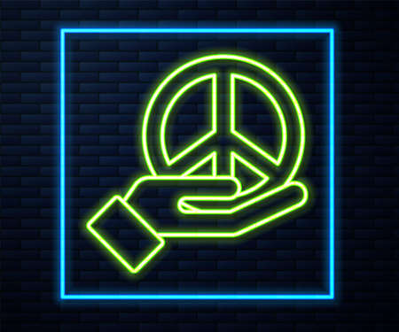 Glowing neon line Peace icon isolated on brick wall background. Hippie symbol of peace. Vector
