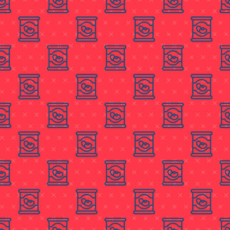 Blue line Beans in can icon isolated seamless pattern on red background. Vector