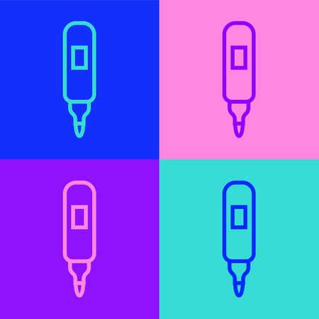 Pop art line Marker pen icon isolated on color background. Felt-tip pen. Vector Illusztráció