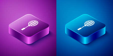 Isometric Tennis racket icon isolated on blue and purple background. Sport equipment. Square button. Vector Illustration