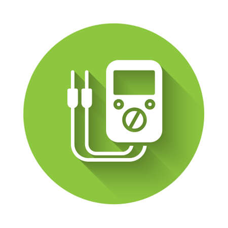 White Ampere meter, multimeter, voltmeter icon isolated with long shadow. Instruments for measurement of electric current. Green circle button. Vector Illustration