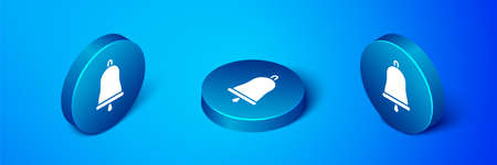 Isometric Ringing bell icon isolated on blue background. Alarm symbol, service bell, handbell sign, notification symbol. Blue circle button. Vector Illustration