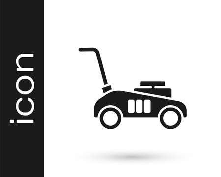 Grey Lawn mower icon isolated on white background. Lawn mower cutting grass. Vector Illustration