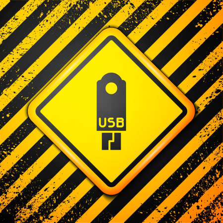 Black USB flash drive icon isolated on yellow background. Warning sign. Vector Illustration