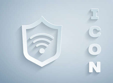 Paper cut Shield with WiFi wireless internet network symbol icon isolated on grey background. Protection safety concept. Paper art style. Vector
