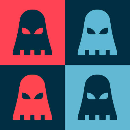 Pop art Executioner mask icon isolated on color background. Hangman, torturer, executor, tormentor, butcher, headsman icon. Vector
