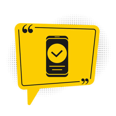 Black Smartphone, mobile phone icon isolated on white background. Yellow speech bubble symbol. Vector