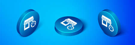 Isometric Veterinary medicine hospital, clinic or pet shop for animals icon isolated on blue background. Vet or veterinarian clinic. Blue circle button. Vector