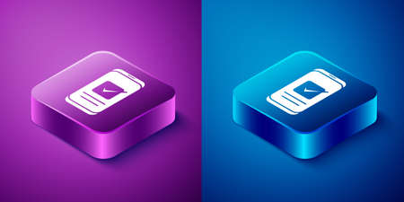 Isometric Smartphone, mobile phone icon isolated on blue and purple background. Square button. Vector