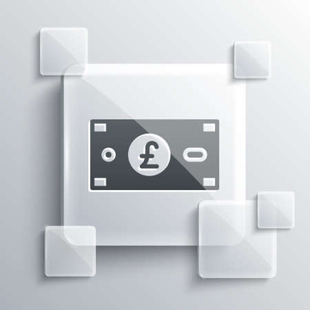 Grey Pound sterling money icon isolated on grey background. Pound GBP currency symbol. Square glass panels. Vector