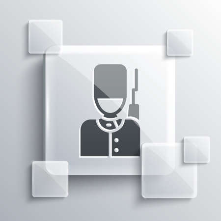 Grey British guardsman with bearskin hat marching icon isolated on grey background. Square glass panels. Vector Illustration
