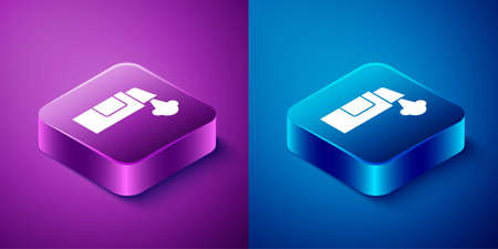 Isometric Pepper spray icon isolated on blue and purple background. OC gas. Capsicum self defense aerosol. Square button. Vector