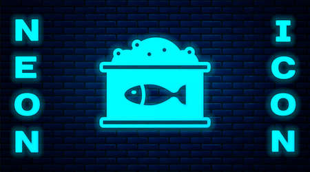 Glowing neon Tin can with caviar icon isolated on brick wall background. Vector