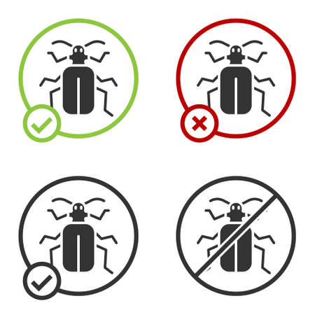 Black Chafer beetle icon isolated on white background. Circle button. Vector