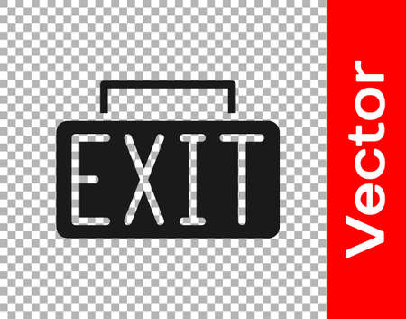 Black Exit icon isolated on transparent background. Fire emergency icon. Vector