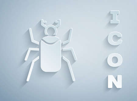 Paper cut Beetle bug icon isolated on grey background. Paper art style. Vector