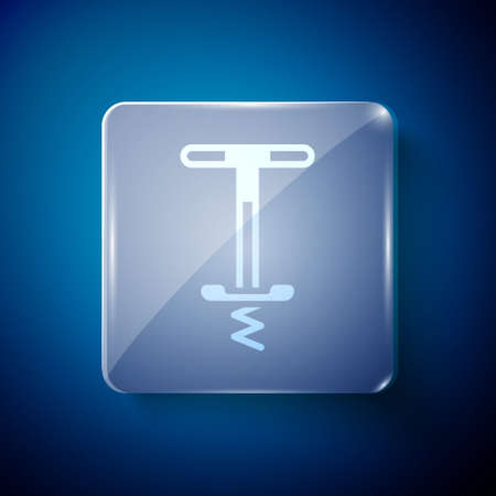 White Pogo stick jumping toy icon isolated on blue background. Square glass panels. Vector