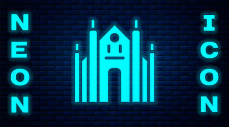 Glowing neon Milan Cathedral or Duomo di Milano icon isolated on brick wall background. Famous landmark of Milan, Italy. Vector 矢量图像