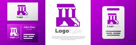 Logotype Parthenon from Athens, Acropolis, Greece icon isolated on white background. Greek ancient national landmark.