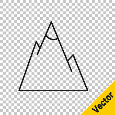 Black line Mountains icon isolated on transparent background. Symbol of victory or success concept. Vector Illustration 일러스트