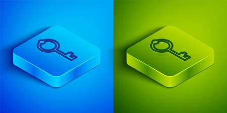 Isometric line Old key icon isolated on blue and green background. Square button. Vector