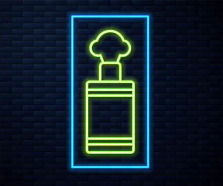 Glowing neon line Hand grenade icon isolated on brick wall background. Bomb explosion. Vector