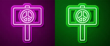Glowing neon line Peace icon isolated on purple and green background. Hippie symbol of peace. Vector