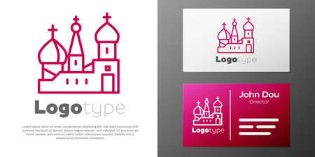 Logotype line Moscow symbol - Saint Basil's Cathedral, Russia icon isolated on white background.
