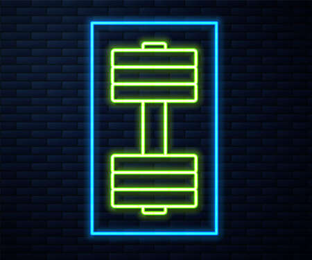 Glowing neon line Dumbbell icon isolated on brick wall background. Muscle lifting icon, fitness barbell, gym, sports equipment, exercise bumbbell. Vector Illustration