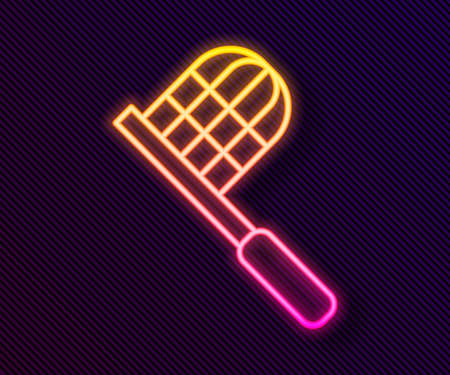 Glowing neon line Butterfly net icon isolated on black background. Vector